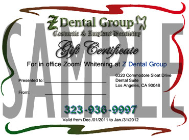 Dental Gift Certificate For Zoom Whitening