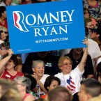 Supporters hearten for Mitt Romney during a debate eventuality in Las Vegas, Nev.: If Romney wins any state George Bush did in 2004, including Nevada, he could take a election.