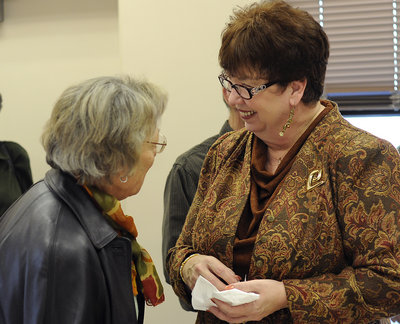 Pat Townley (right) talks with Rosemarie Newman Thursday, Dec 29, 2011 during a retirement jubilee in her honor. Townley served as a helper manager during a Floyd County Health Department. (Daniel Varnado RN-T.com)